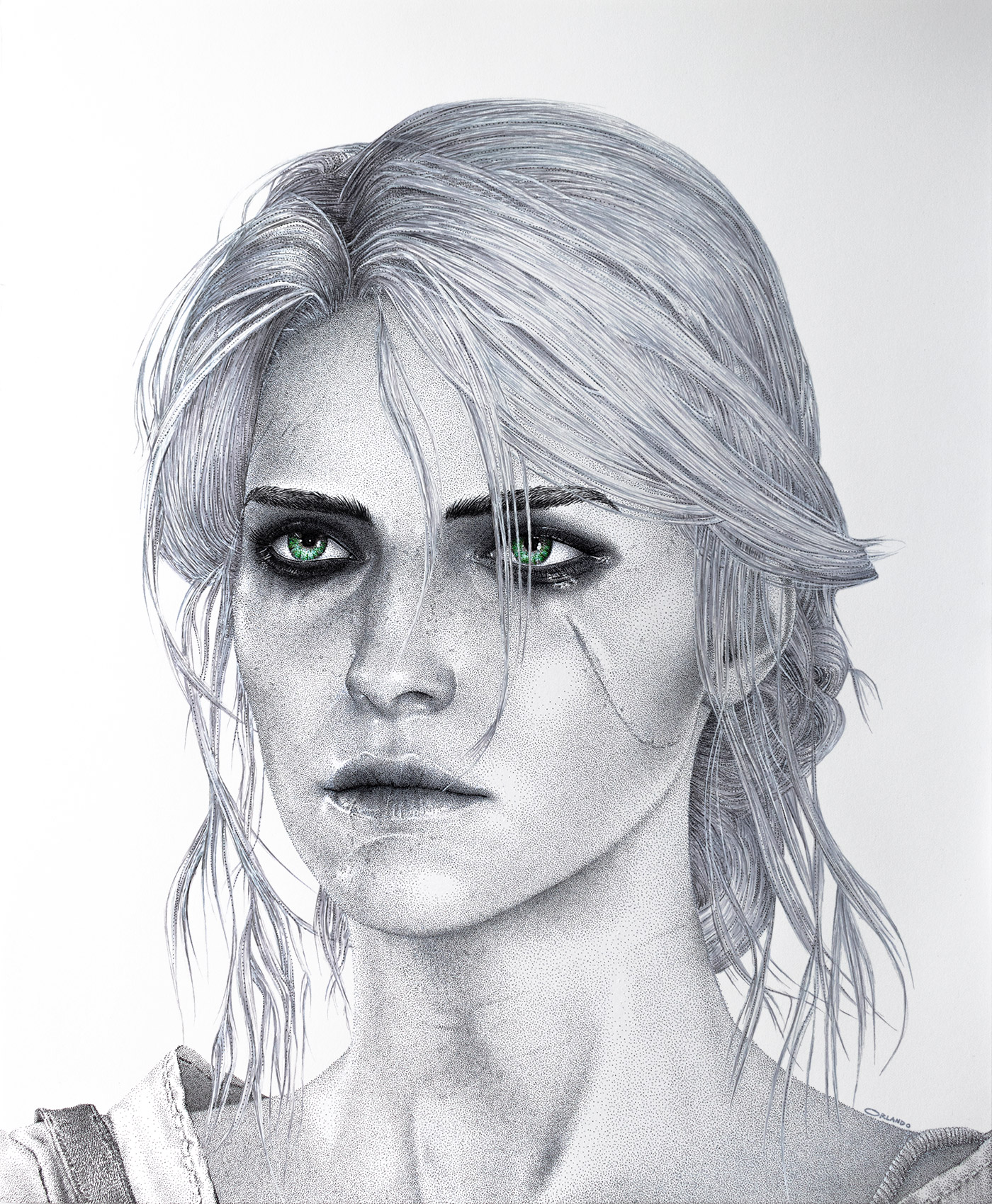 Ciri (The Witcher 3) Pen Drawing