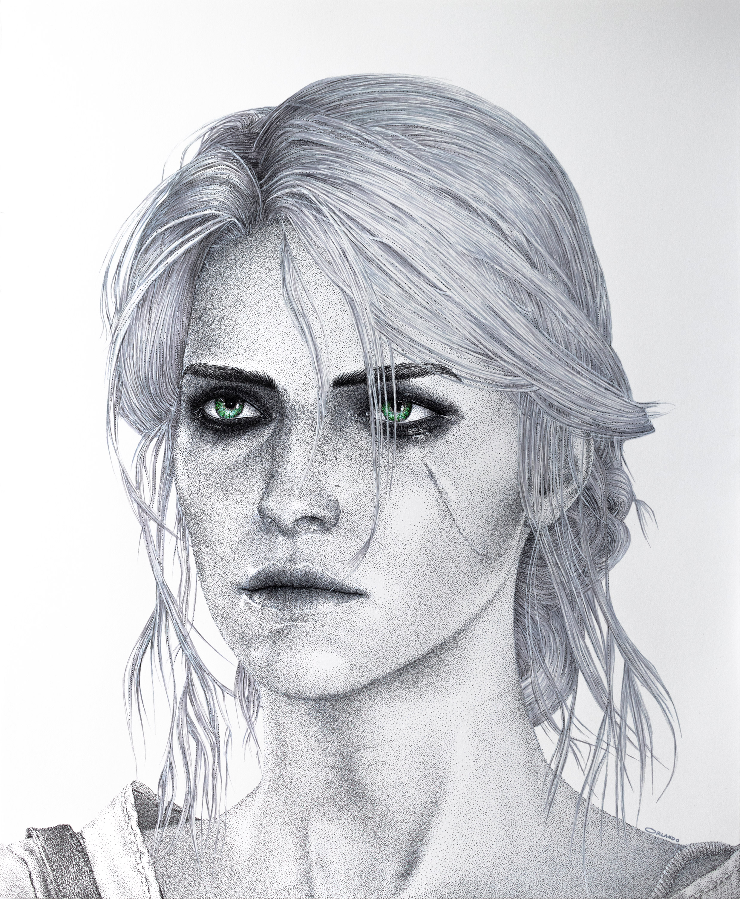 Ciri pen drawing by Keith Orlando