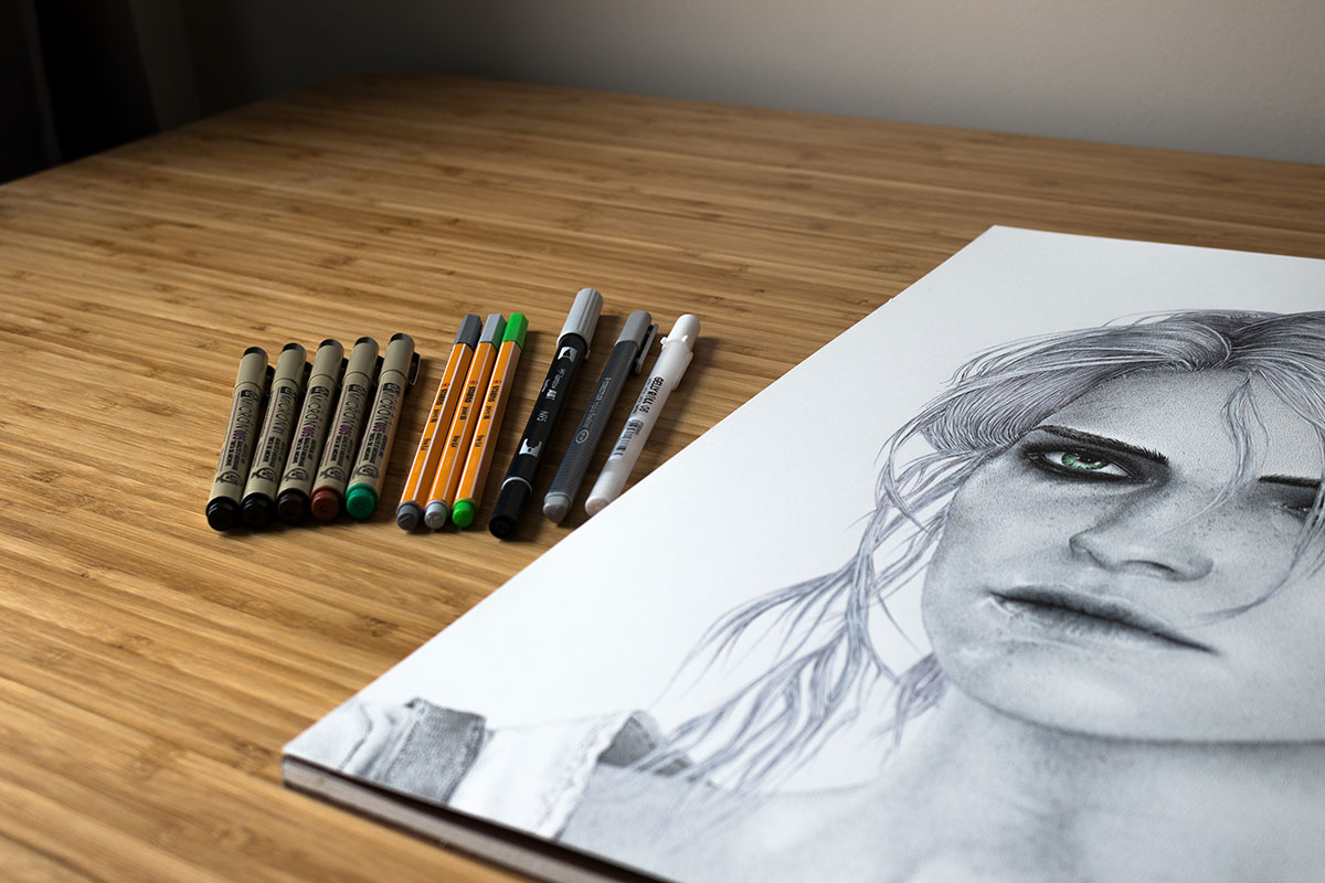 Ciri drawing on table by Keith Orlando