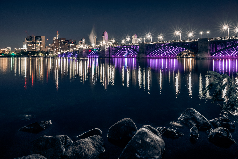 Longfellow Bridge in Purple