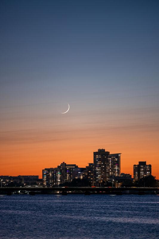 The Waxing Crescent Moon on the Esplanade